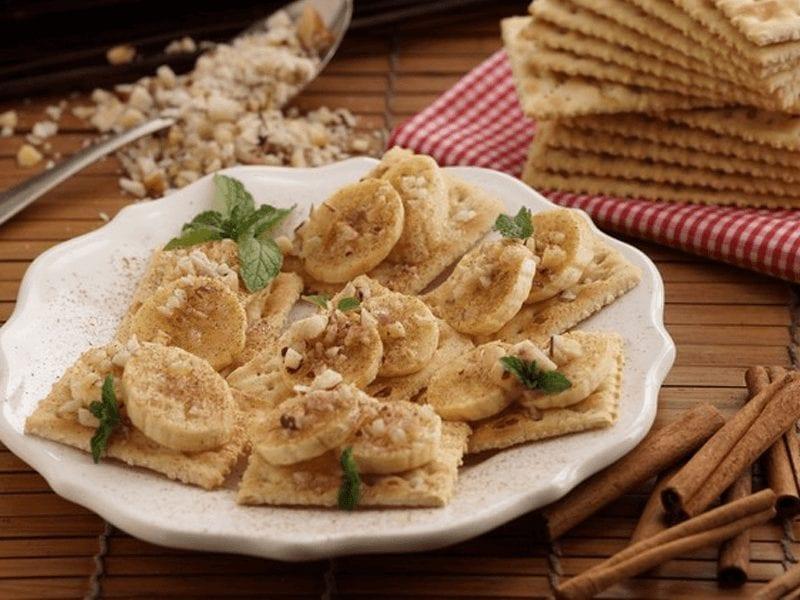 Receta bocaditos de banano y canela con saltin noel tradiconal