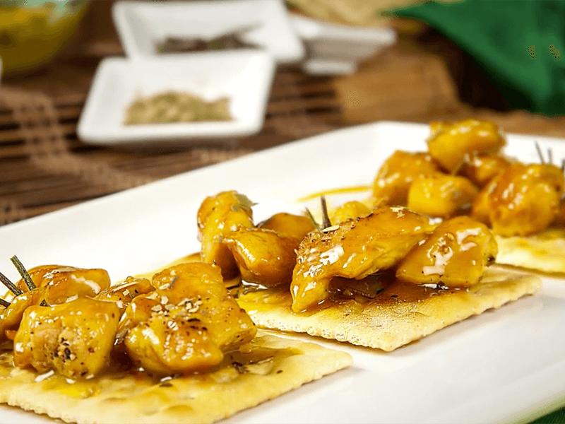 Receta saltin noel con trozos de pollo en miel mostaza