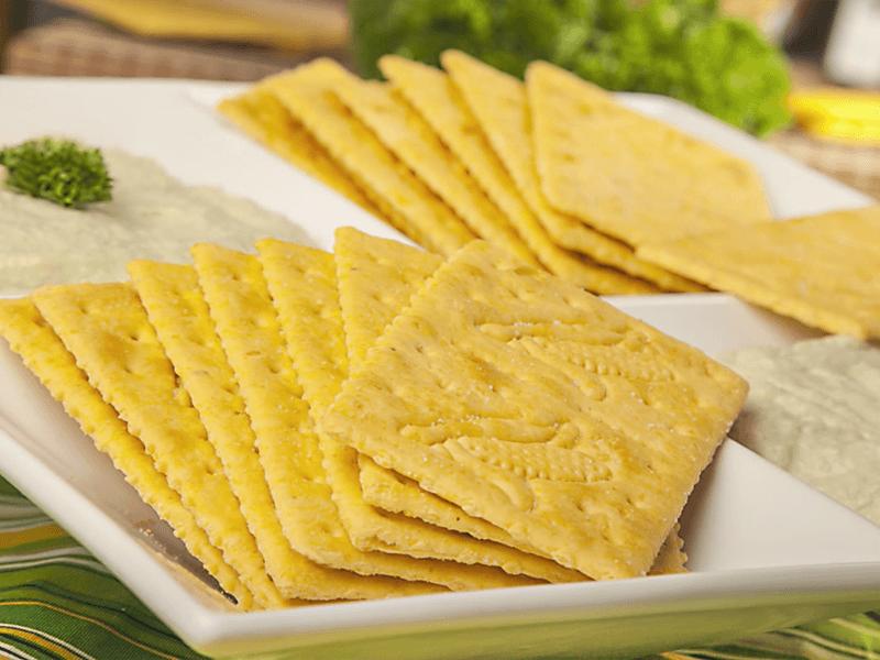 Receta saltin noel dip de pollo y alcaparras de maiz