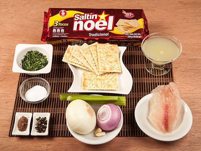 Saltin noel ceviche de ´pescado con galletas saltin noel tradicional paso 1