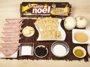 Saltin noel integral de jamon cebollas paso 1