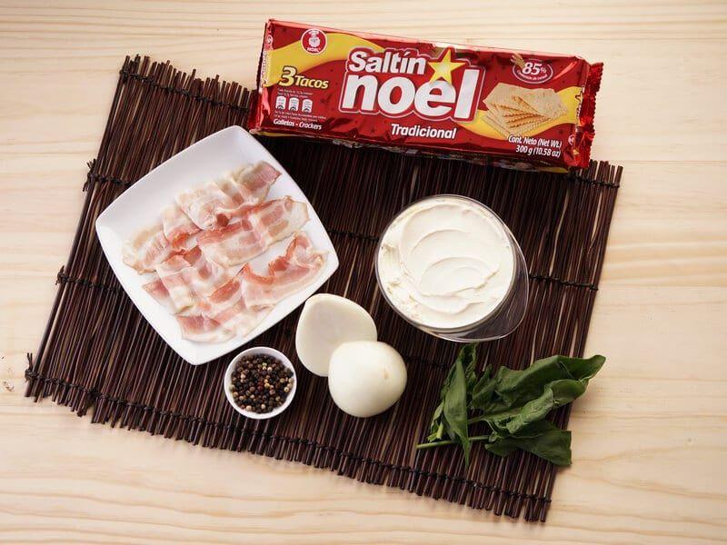 Saltin noel tradicional con dip de tocineta y espinaca paso 1
