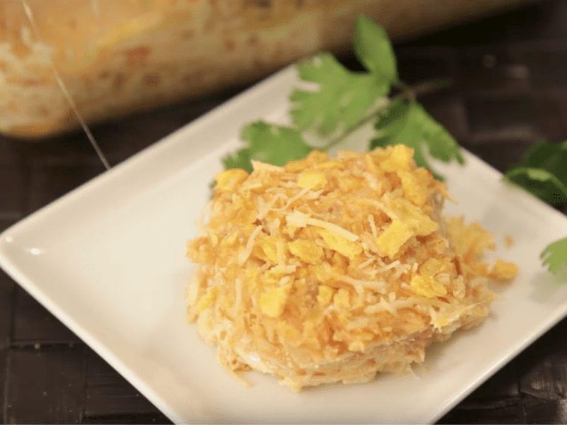 Receta de pastel de pollo gratinado con gallletas Saltin noel