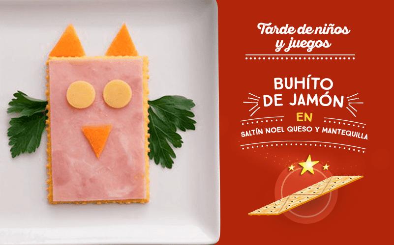 Buhíto de jamón en Saltín Noel Queso y Mantequilla