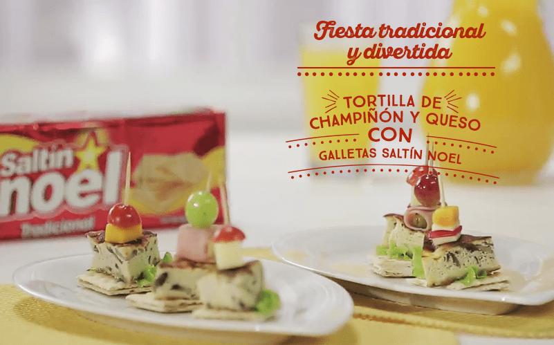 Tortilla de Champiñón y Queso con Galletas Saltín Noel
