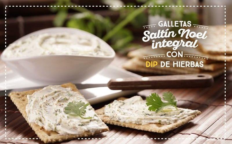 Galletas Saltín Noel Integral con dip de hierbas